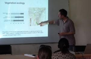 Prof Jan Habel presenting results of vegetation ecology in Taita Hills region