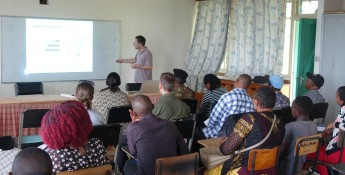 Prof Jan Habel presenting structure and outcomes to participants of Taita Hills workshop