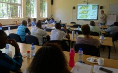 Participants listening to the talk of Dr. Mike Teucher on land use change